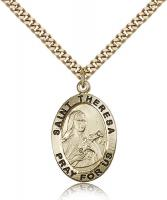 "Gold Filled St. Theresa Pendant, Stainless Gold Heavy Curb Chain, 1"" x 5/8"""