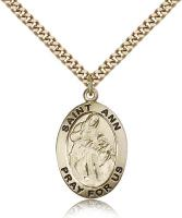 "Gold Filled St. Ann Pendant, Stainless Gold Heavy Curb Chain, 1"" x 5/8"""
