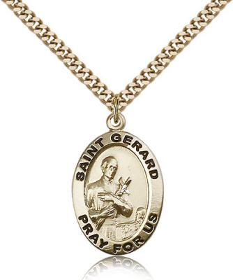 "Gold Filled St. Gerard Pendant, Stainless Gold Heavy Curb Chain, 1"" x 5/8"""
