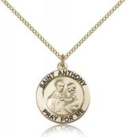 "Gold Filled St. Anthony of Padua Pendant, GF Lite Curb Chain, 3/4"" x 3/4"""