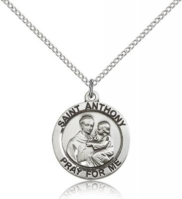 "Sterling Silver St. Anthony of Padua Pendant, Stainless Silver Lite Curb Chain, 3/4"" x 3/4"""