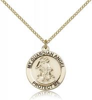 "Gold Filled Guardian Angel Pendant, GF Lite Curb Chain, 3/4"" x 3/4"""