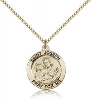 "Gold Filled St. Joseph Pendant, GF Lite Curb Chain, 3/4"" x 3/4"""