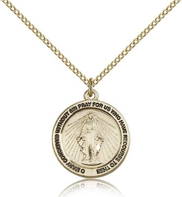 "Gold Filled Miraculous Medal, GF Lite Curb Chain, 3/4"" x 3/4"""