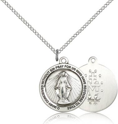 "Sterling Silver Miraculous Medal, 3/4"" x 3/4"""
