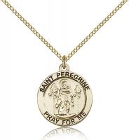 "Gold Filled St. Peregrine Pendant, GF Lite Curb Chain, 3/4"" x 3/4"""