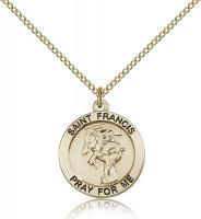 "Gold Filled St. Francis Pendant, GF Lite Curb Chain, 3/4"" x 3/4"""