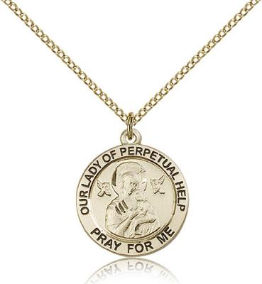 "Gold Filled Our Lady of Perpetual Help Pendant, GF Lite Curb Chain, 3/4"" x 3/4"""