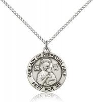 "Sterling Silver Our Lady of Perpetual Help Pendant, Stainless Silver Lite Curb Chain, 3/4"" x 3/4"""