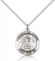 "Sterling Silver Caridad Del Cobre Pendant, Stainless Silver Lite Curb Chain, 3/4"" x 3/4"""
