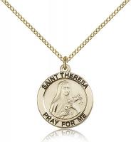 "Gold Filled St. Theresa Pendant, GF Lite Curb Chain, 3/4"" x 3/4"""