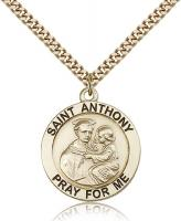 "Gold Filled St. Anthony Pendant, Stainless Gold Heavy Curb Chain, 1"" x 7/8"""