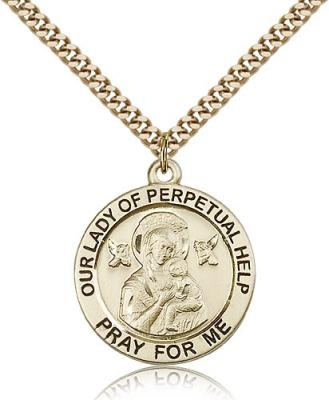"Gold Filled Our Lady of Perpetual Help Pendant, Stainless Gold Heavy Curb Chain, 1"" x 7/8"""