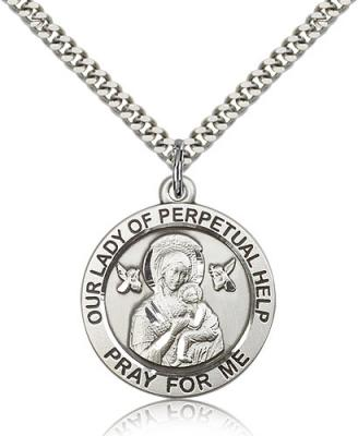 "Sterling Silver Our Lady of Perpetual Help Pendant, Stainless Silver Heavy Curb Chain, 1"" x 7/8"""