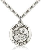 "Sterling Silver St. Joseph Pendant, Stainless Silver Heavy Curb Chain, 1"" x 7/8"""