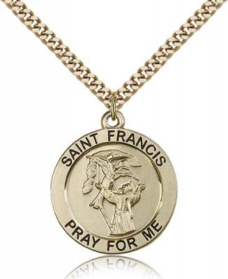 "Gold Filled St. Francis Pendant, Stainless Gold Heavy Curb Chain, 1"" x 7/8"""