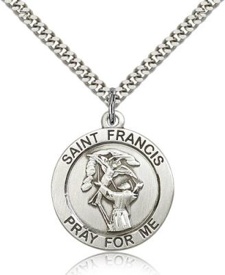 "Sterling Silver St. Francis Pendant, Stainless Silver Heavy Curb Chain, 1"" x 7/8"""