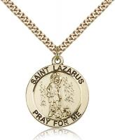 "Gold Filled St. Lazarus Pendant, Stainless Gold Heavy Curb Chain, 1"" x 7/8"""