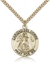 "Gold Filled Caridad Del Cobre Pendant, Stainless Gold Heavy Curb Chain, 1"" x 7/8"""