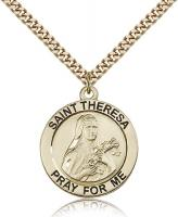 "Gold Filled St. Theresa Pendant, Stainless Gold Heavy Curb Chain, 1"" x 7/8"""