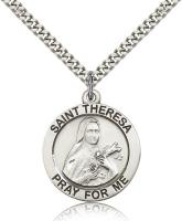 "Sterling Silver St. Theresa Pendant, Stainless Silver Heavy Curb Chain, 1"" x 7/8"""