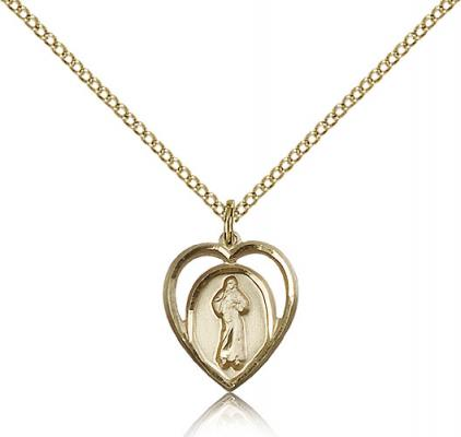 "Gold Filled Divine Mercy Pendant, Gold Filled Lite Curb Chain, 5/8"" x 1/2"""