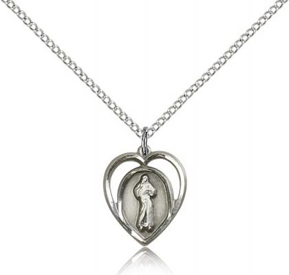 "Sterling Silver Divine Mercy Pendant, Sterling Silver Lite Curb Chain, 5/8"" x 1/2"""