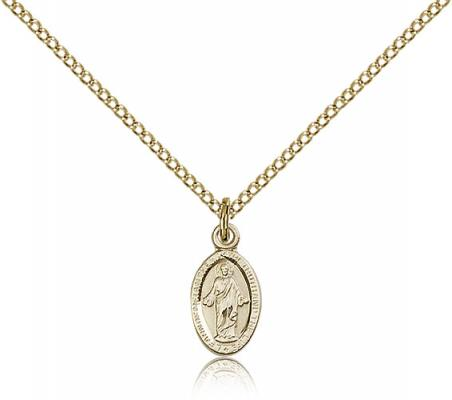 "Gold Filled Scapular Pendant, Gold Filled Lite Curb Chain, 1/2"" x 1/4"""