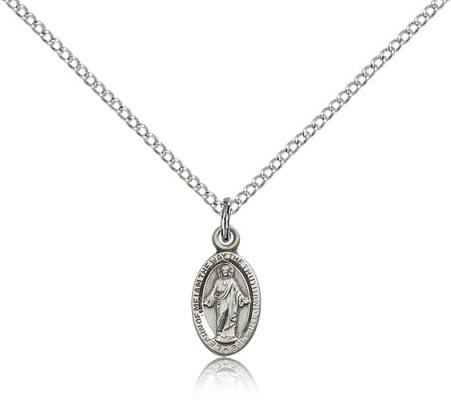 "Sterling Silver Scapular Pendant, Sterling Silver Lite Curb Chain, 1/2"" x 1/4"""
