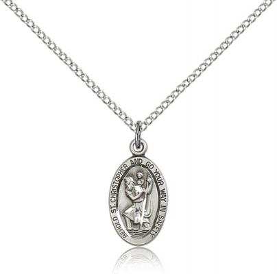 "Sterling Silver St. Christopher Pendant, Sterling Silver Lite Curb Chain, 5/8"" x 3/8"""