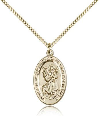 "Gold Filled St. Christopher Pendant, Gold Filled Lite Curb Chain, 7/8"" x 1/2"""