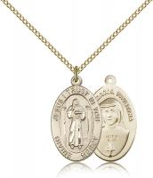 "Gold Filled Divine Mercy Pendant, Gold Filled Lite Curb Chain, 7/8"" x 1/2"""