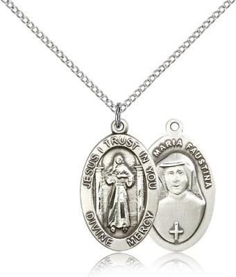 "Sterling Silver Divine Mercy Pendant, Sterling Silver Lite Curb Chain, 7/8"" x 1/2"""