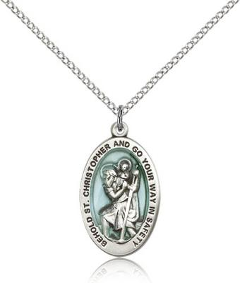 "Sterling Silver St. Christopher Pendant, Sterling Silver Lite Curb Chain, 7/8"" x 1/2"""