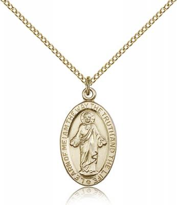 "Gold Filled Scapular Pendant, Gold Filled Lite Curb Chain, 7/8"" x 1/2"""