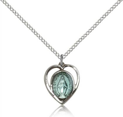 "Sterling Silver Miraculous Pendant, Sterling Silver Lite Curb Chain, 5/8"" x 1/2"""