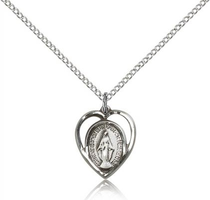 "Sterling Silver Miraculous Pendant, Sterling Silver Lite Curb Chain, 1/2"" x 1/2"""