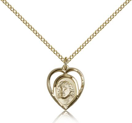 "Gold Filled Ecce Homo Pendant, Gold Filled Lite Curb Chain, 5/8"" x 1/2"""