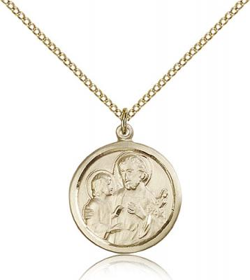 "Gold Filled St. Joseph Pendant, Gold Filled Lite Curb Chain, 7/8"" x 3/4"""