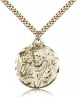 "Gold Filled St. Joseph Pendant, Stainless Gold Heavy Curb Chain, 1 1/8"" x 7/8"""