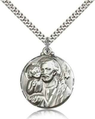"Sterling Silver St. Joseph Pendant, Stainless Silver Heavy Curb Chain, 1 1/8"" x 7/8"""