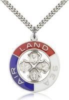 "Sterling Silver Land, Sea, Air Pendant, Stainless Silver Heavy Curb Chain, 1 3/8"" x 1 1/8"""