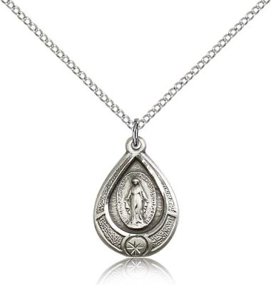 "Sterling Silver Miraculous Pendant, Sterling Silver Lite Curb Chain, 3/4"" x 1/2"""