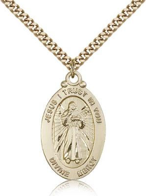 "Gold Filled Divine Mercy Pendant, Stainless Gold Heavy Curb Chain, 1 1/8"" x 5/8"""