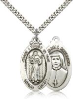 "Sterling Silver Divine Mercy Pendant, Stainless Silver Heavy Curb Chain, 1 1/8"" x 5/8"""