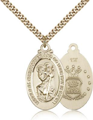 "Gold Filled St. Christopher Air Force Pendant, Stainless Gold Heavy Curb Chain, 1 1/8"" x 5/8"""