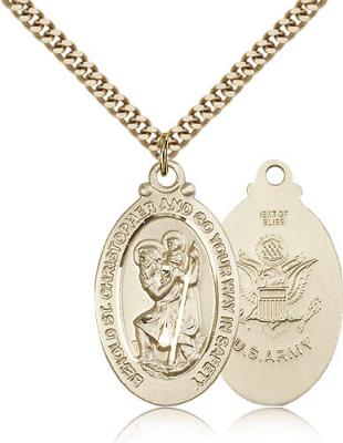 "Gold Filled St. Christopher Army Pendant, Stainless Gold Heavy Curb Chain, 1 1/8"" x 5/8"""