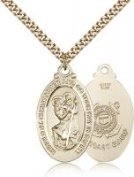 "Gold Filled St. Christopher Coast Guard Pendant, Stainless Gold Heavy Curb Chain, 1 1/8"" x 5/8"""