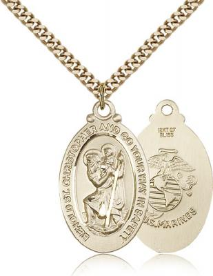 "Gold Filled St. Christopher Marines Pendant, Stainless Gold Heavy Curb Chain, 1 1/8"" x 5/8"""