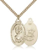 "Gold Filled St. Christopher Pendant, Stainless Gold Heavy Curb Chain, 1 1/8"" x 5/8"""